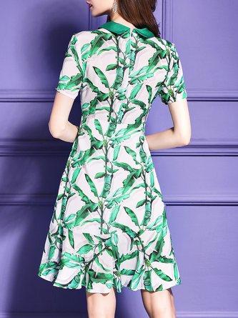 Tie-neck  Midi Dress Flounce Date Short Sleeve Bow Dress