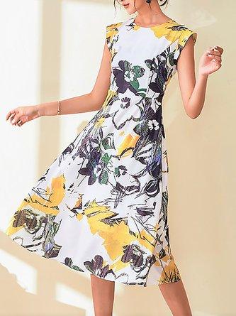 Multicolor Midi Dress Date Sleeveless Casual Dress
