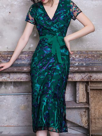 V neck Green Midi Dress Sheath Party Short Sleeve Floral Dress