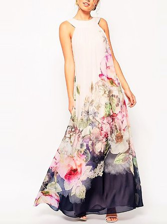 Multicolor Swing Party Vintage Chiffon Printed Maxi Dress
