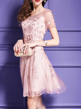 Pink Midi Dress A-line Short Sleeve Embroidered Dress
