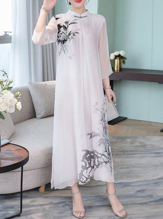 Printed Midi Dress Shift Daytime Casual Floral Dress