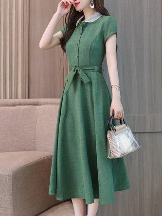 4c2c75082a Shirt Collar Midi Dress A-line Daytime Work Bow Dress