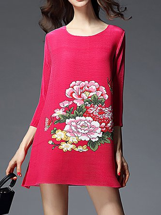 Date 3/4 Sleeve Casual Printed Floral Mini Dress