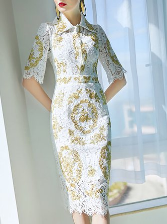Shirt Collar White Bodycon Embroidered Animal Cocktail Midi Dress