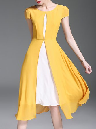 Yellow A-line Short Sleeve Casual Paneled Midi Dress
