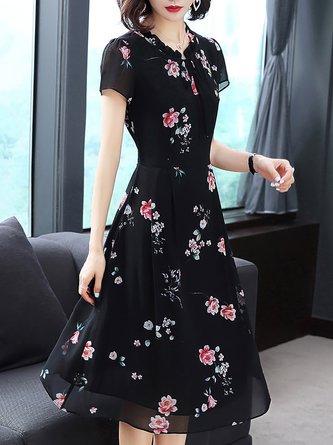 Black Swing Daytime Short Sleeve Casual Printed Floral Midi Dress