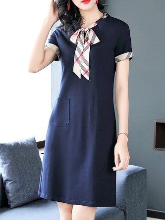 Tie-neck Navy Blue  Daytime Casual Short Sleeve Midi Dress