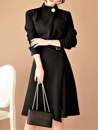 Black Party 3/4 Sleeve Statement Midi Dress