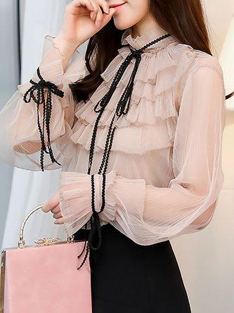 Pink Solid Tie-neck Balloon Sleeve Tiered Top