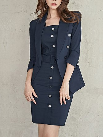 Navy Blue Cotton Work Three-piece Set top with skirt and Belt