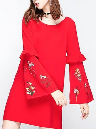 Casual Shift Frill Sleeve Statement Sweater Dress