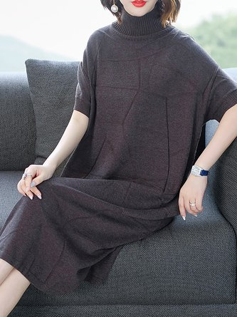 Batwing Geometric Shift Casual Turtleneck Sweater Dress