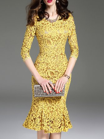 Yellow Flounce Elegant Lace Guipure Party Midi Dress
