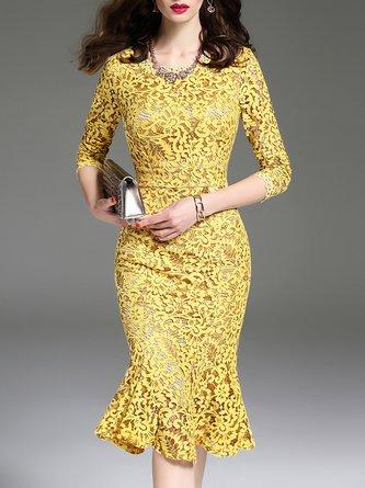 Yellow Flounce Elegant Lace Guipure lace Party Midi Dress