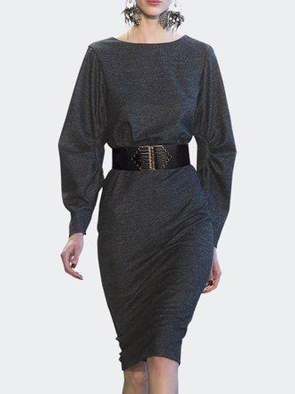 Gray A-line Elegant Statement Midi Dress with Belt