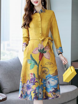 A-line Elegant 3/4 Sleeve Floral-print Party Midi Dress