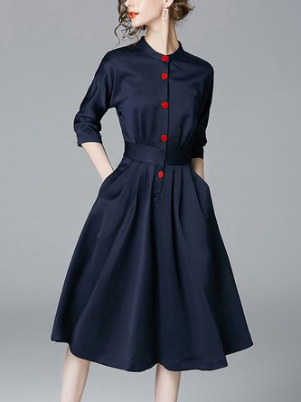 Stand Collar Party A-Line Vintage Statement Midi Dresse