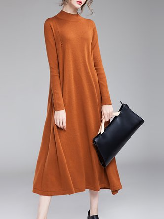 Long Sleeve Solid Knitted Casual Sweater Dresses