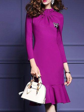 Rose Elegant Ruched Flounce Statement Midi Dress