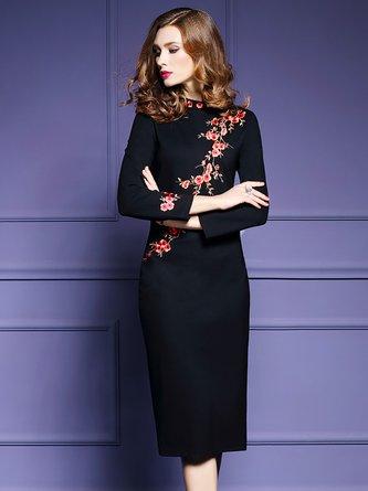 Black Elegant Floral Sheath Embroidered Midi Dress