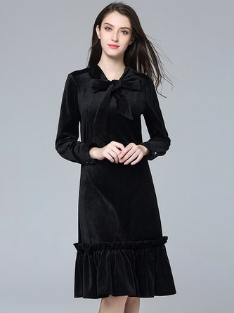 90d6f18d2762 Black Ruffled Velvet Elegant Tie-neck Flounce Cocktail Midi Dress