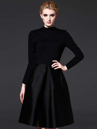 Black Turtleneck Paneled Work Elegant Midi Dress