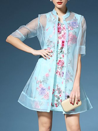 Floral Half Sleeve Sheath Cocktail Crew Neck Dress With Coat