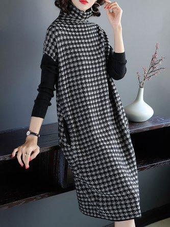 Turtleneck  Black Shift Long Sleeve Jacquard Casual  Sweater Dresses