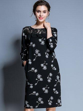 2ac75f635cc9e Black Floral Elegant Sheath Guipure lace Midi Dress