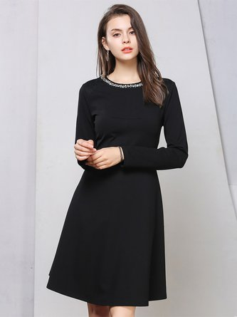 Black Elegant Beaded A-line Crew Neck Midi Dress