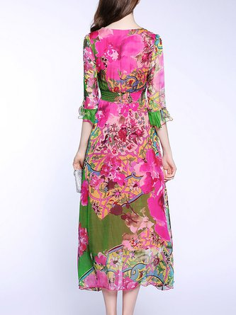 5cb6bc2c9 Square neck Fuchsia Swing Frill Sleeve Silk Elegant Floral Midi Dress