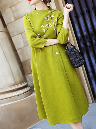 Green A-line Holiday Long Sleeve Wool Floral-print Floral Midi Dress