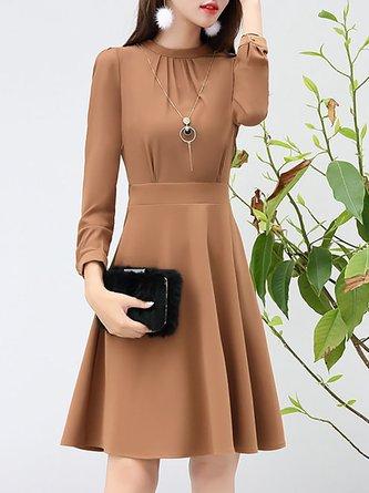 Date Elegant Long Sleeve A-line Gathered Midi Dress