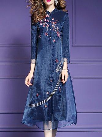 Shift Daytime Elegant 3/4 Sleeve Embroidered Floral Midi Dress