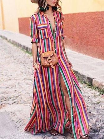 Shirt Collar Multicolor Maxi Dress A-line Daytime Pockets Striped Dress