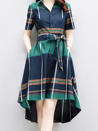 Shirt Collar  Midi Dress Daytime Short Sleeve Checkered/Plaid Dress
