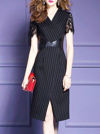 Surplice Neck Black Sheath Short Sleeve Striped Midi Dress