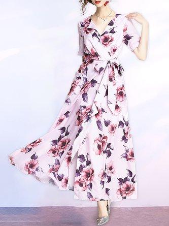 Surplice Neck Pink Maxi Dress A-line Date Short Sleeve Floral Dress