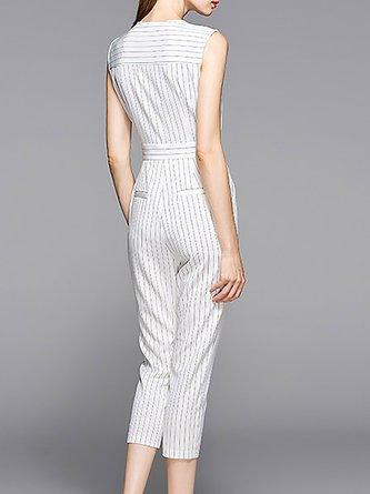 White Printed Elegant V neck Striped Jumpsuit