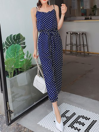 4edd6197d7 Blue Printed Spaghetti Polka Dots Holiday Jumpsuit