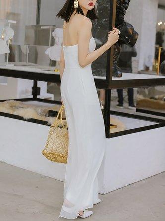 cbedfddca91b White Elegant Sleeveless Strapless Jumpsuit. Quick Shop