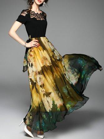 Yellow Maxi Dress Swing Daytime Paneled Floral Dress