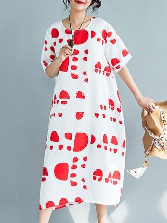 Linen Dress Shift Daytime Short Sleeve Linen Dress