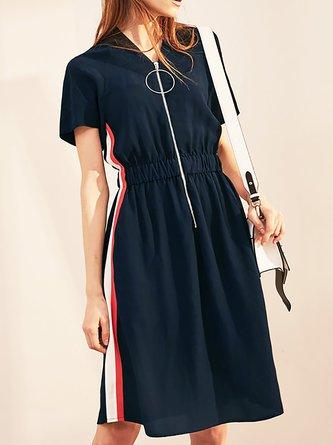 0755b0808b V neck Dark blue A-line Daytime Casual Short Sleeve Gathered Midi Dress