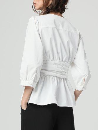 White V-Neck Ruched Paneled 3/4 Sleeve Blouse