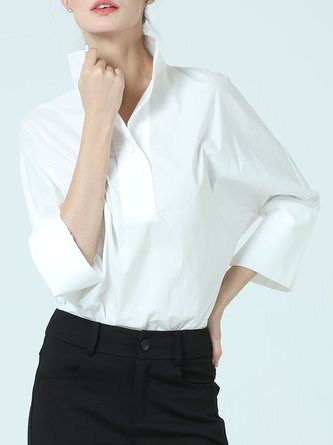 White V Neck Solid Casual 3/4 Sleeve Blouse