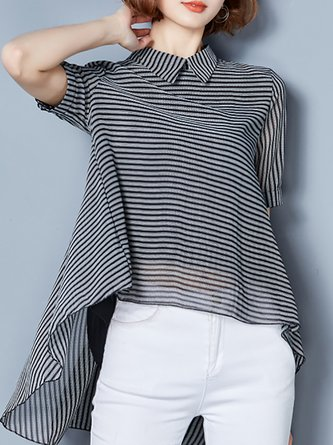 7109b97f5cf Turtle Neck Printed Color-block T-Shirt.  46.15. Black Chiffon Asymmetric  Striped Blouse
