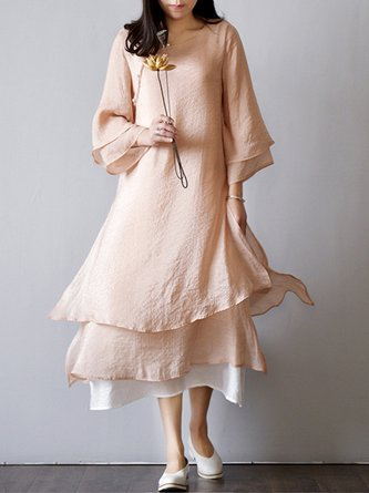 Linen Dress Shift Daily 3/4 Sleeve Tiered Dress
