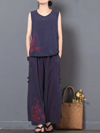 Floral Embroidered Linen Two Piece Outfits